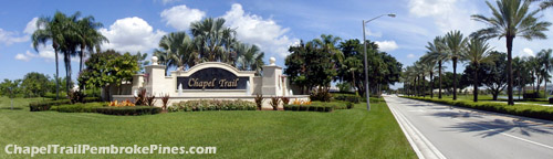 Impressive, landscaped entrance to the Chapel Trail residental community of western Pembroke Pines, FL.